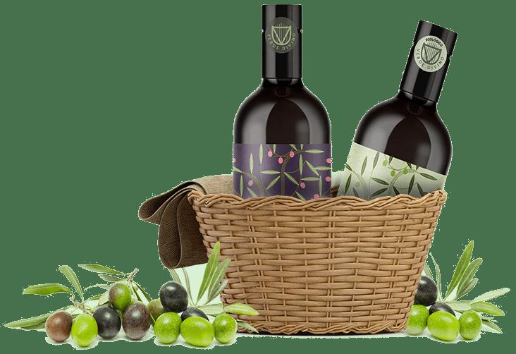 Aceitunas y botellas de AOVE